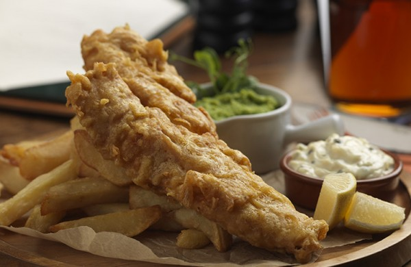 Fish and chips at The Crown Inn, Elton