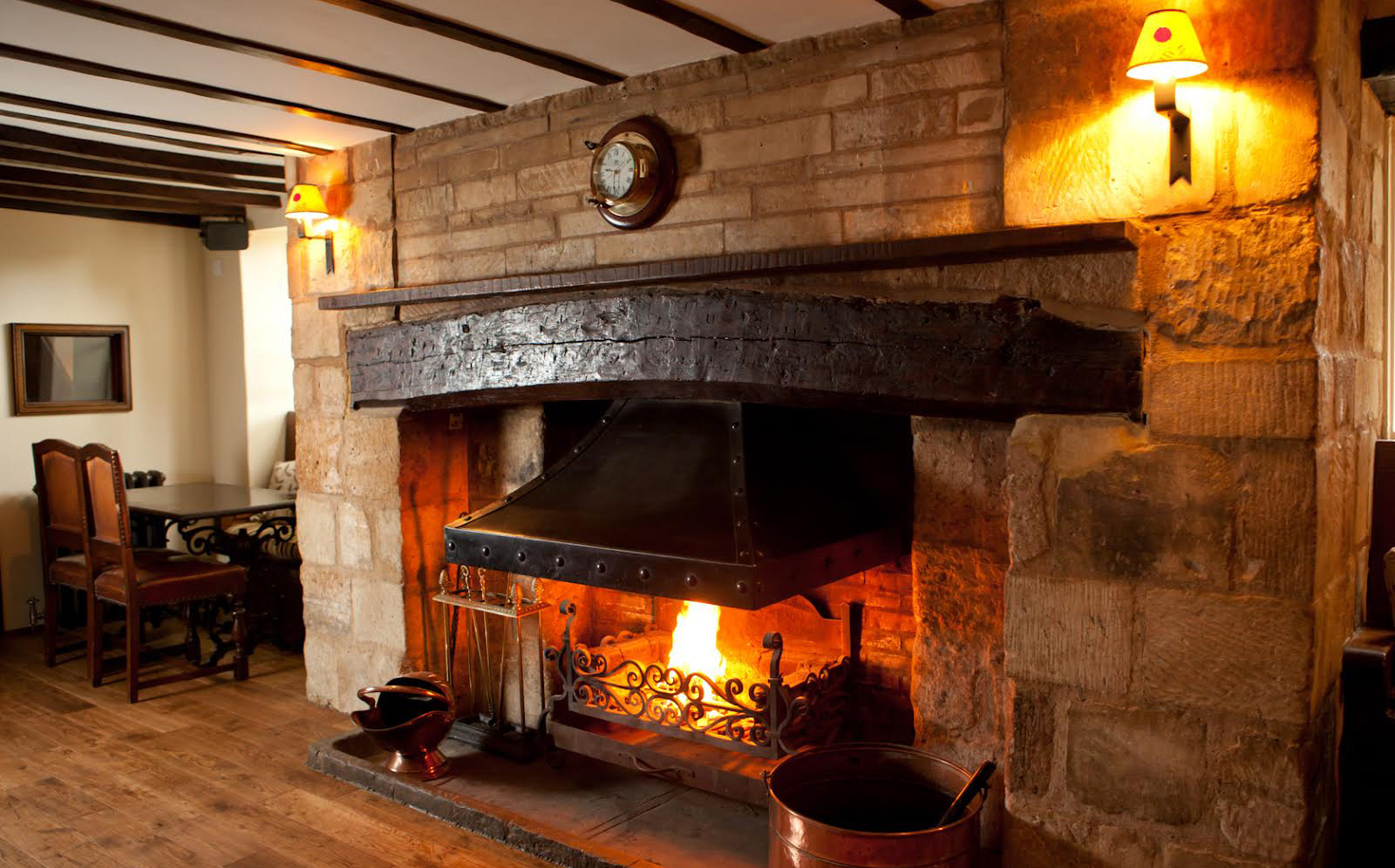 Roaring fire in the Crown Inn bar